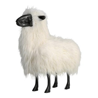 Old Plank Life-Like Sheep Sculpture For Sale