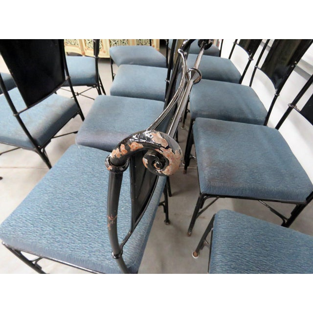 Metal Vintage Mid-Century Modern Metal Dining / Side Chairs - Set of 10 For Sale - Image 7 of 13