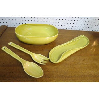 1930s Mid Century Modern Group of Russel Wright Chartreuse Ceramic Tableware - Set of 6 Preview