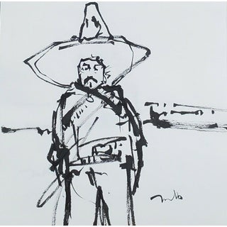 Contemporary Minimalist Figurative Ink Drawing of a Mexican Revolution Soldier by Jose Trujillo For Sale