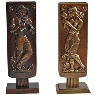 Pair of Bronze Vases by Oscar Antonsson For Sale