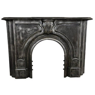 Antique Gothic Cast Iron Fireplace Mantel For Sale