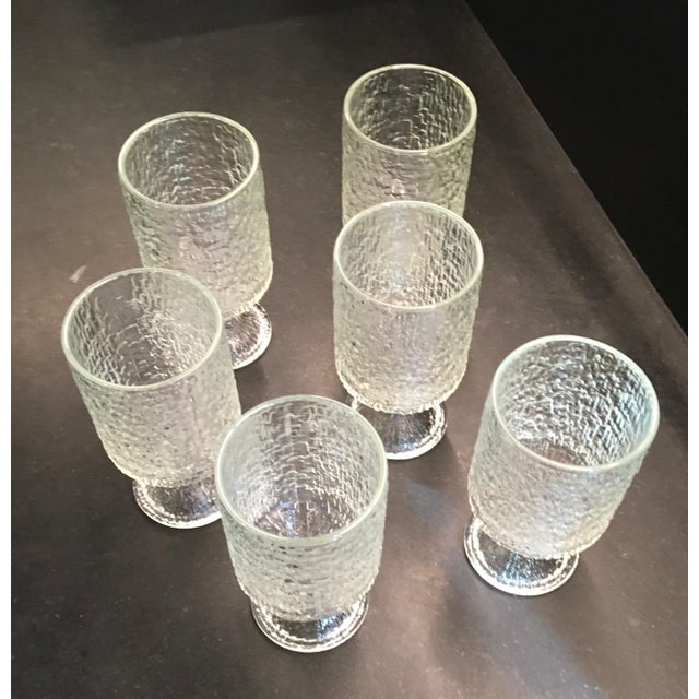 Vintage 1970s Indiana Textured Crystal Ice Pattern Water Goblets - Set of 6 - Image 5 of 6
