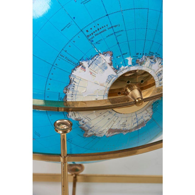 Huge Vintage Illuminated Globe With Brass Stand For Sale - Image 11 of 13