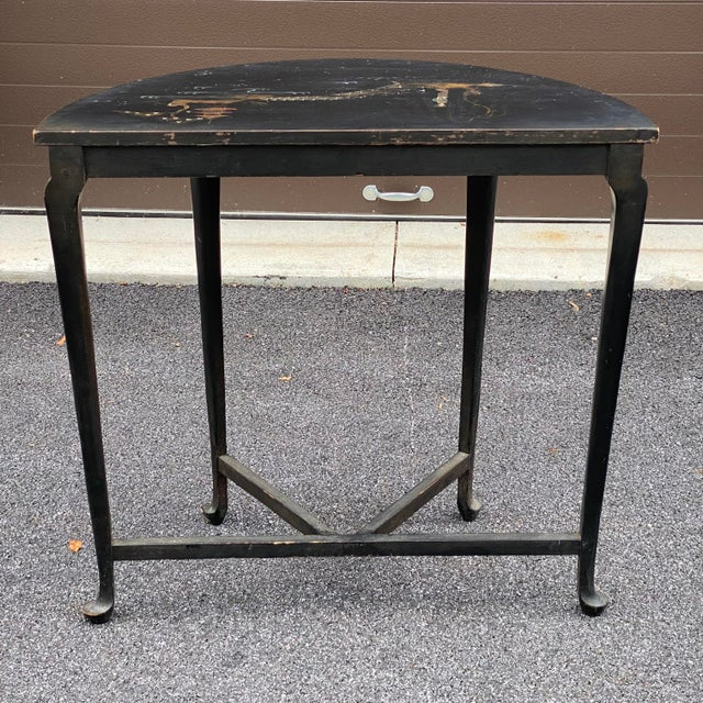 Antique Chinoiserie Demilune Accent Table For Sale - Image 4 of 13