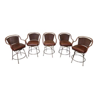 Set 5 Top Tier Palecek Aspen Wrought Iron & Embossed Paisley Leather Counter Barstools