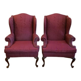 Henredon Queen Anne Burgundy Wingback Chairs - a Pair For Sale
