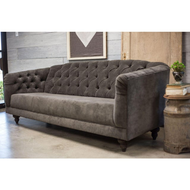 Charcoal Tufted Vintage Sofa - Image 5 of 10