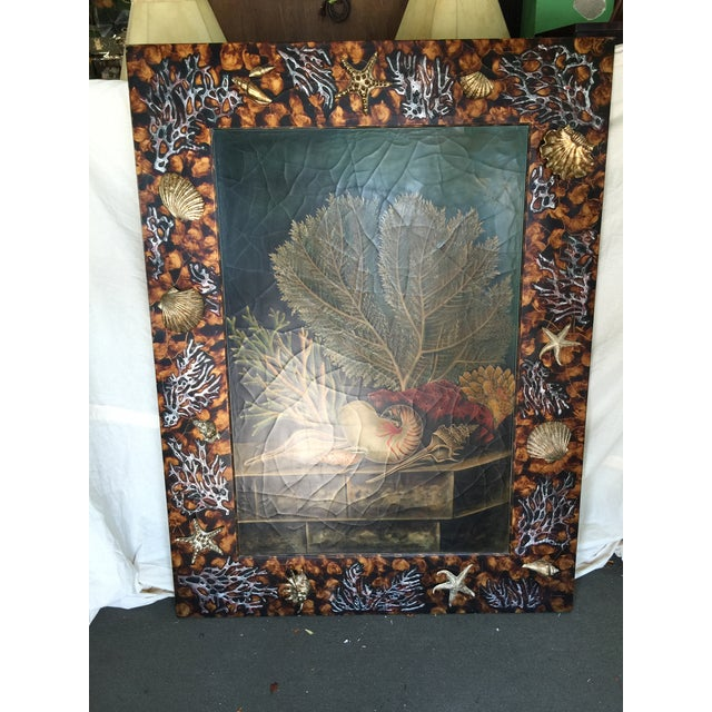 Trumploiel painting of an underwater scene. Very unusual this large piece also has carved wood sea shells surrouning the...