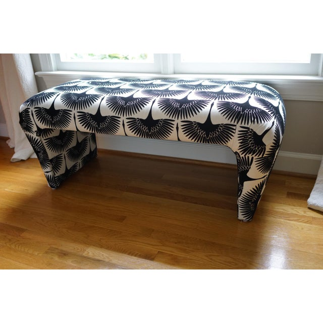 Velvet Swan Upholstered Waterfall Bench - Image 8 of 9