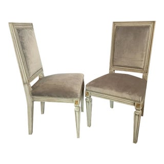 Jansen Style Parcel-Gilt and Paint Decorated Dining Chairs - A Pair