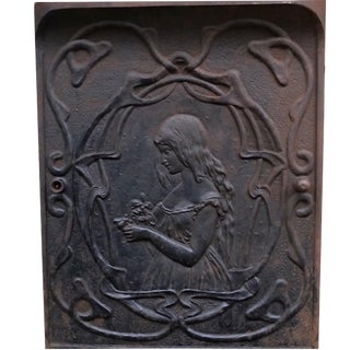 Art Nouveau Cast Iron Fire Place Door With Girl For Sale