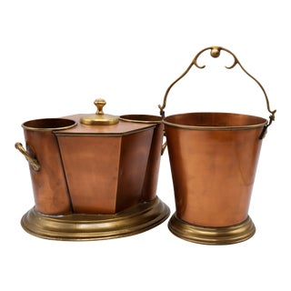 Copper & Brass Ice Bucket Set For Sale