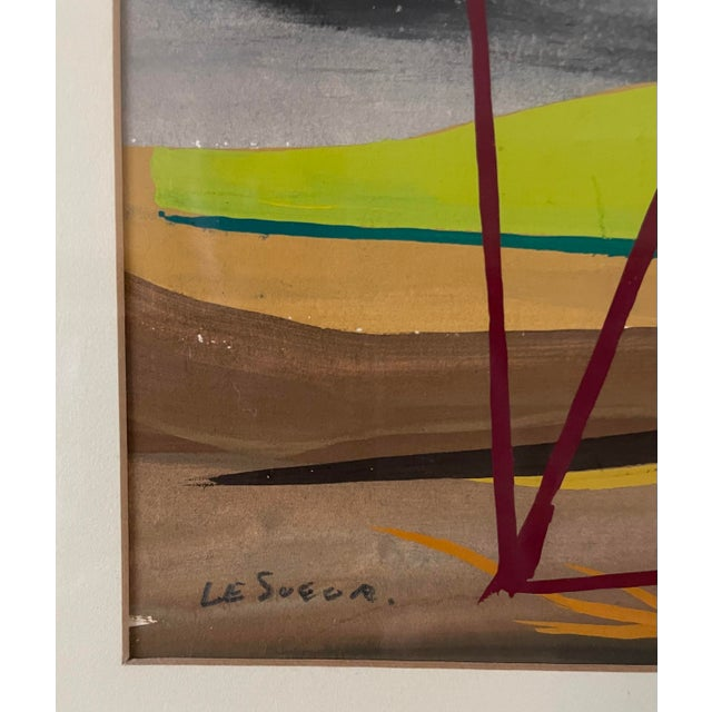 """1950s 1950s """"Mac Le Sueur"""" Landscape Gouache Painting, Framed For Sale - Image 5 of 9"""
