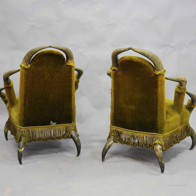 Cabin A Pair Antique Bull Horn Chairs Austria 1870 For Sale - Image 3 of 4