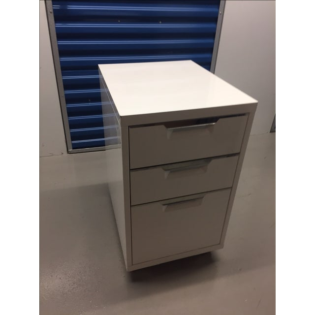 CB2 White Filing Cabinet - Image 2 of 4