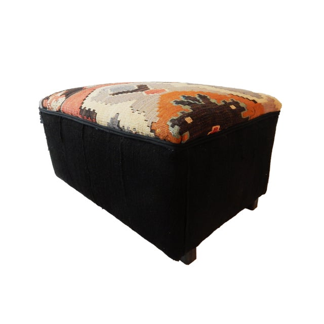 Orange Tribal Kilim Rug & Mud Cloth Ottoman For Sale - Image 8 of 9