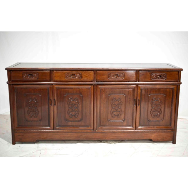 Vintage Rosewood Effect Chinoiserie Credenza Server Cabinet For Sale - Image 4 of 13