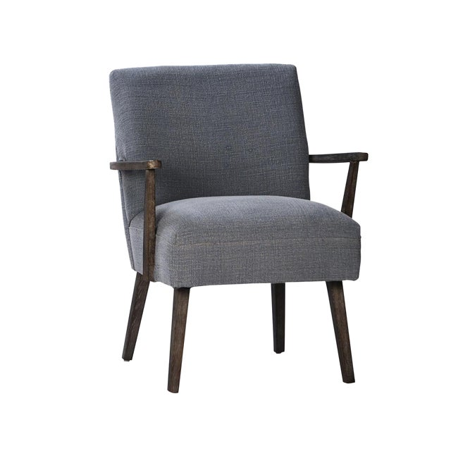 Mid-Century Style Dark Wood Arm Chair - Image 1 of 2
