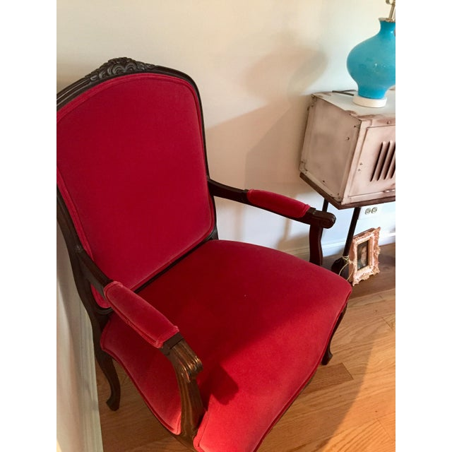 19th Century Louis XVI Red Velvet Arm Chair For Sale - Image 11 of 11