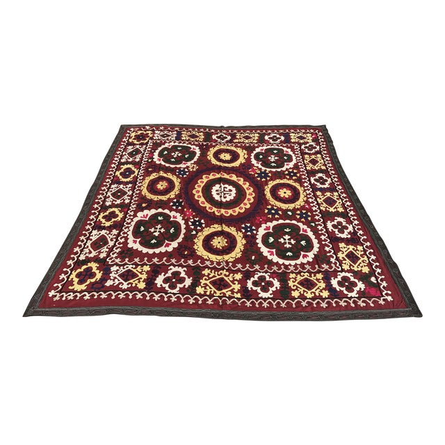 Antique Handmade Suzani Dark Red Tapestry For Sale
