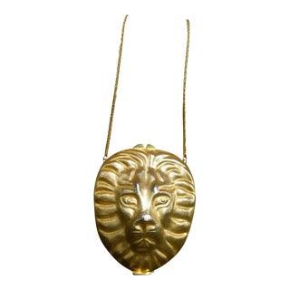 1970s Saks Fifth Avenue Gilt Metal Lion Minaudière Evening Bag For Sale