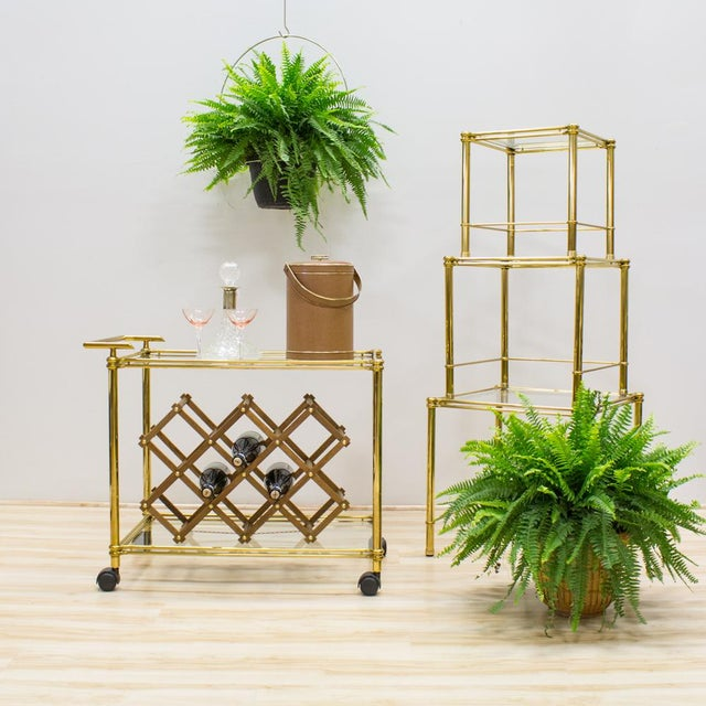 Italian Brass & Glass Nesting Tables - Set of 3 - Image 9 of 11
