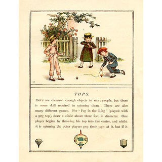 Vintage Children's Game Print by Kate Greenaway, Tops For Sale