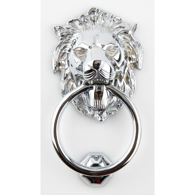 Art Deco Chrome Plated Solid Brass Lion Head Doorknocker With Striker For Sale - Image 4 of 4
