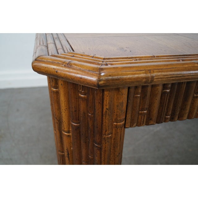 Faux Bamboo Parquet Top Extension Dining Table For Sale - Image 10 of 10