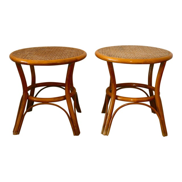 Vintage Rattan and Cane Tables - a Pair For Sale