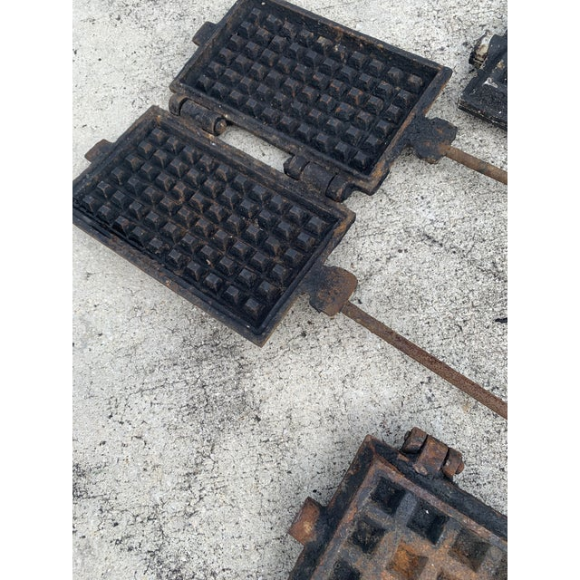 Metal Antique Waffle Irons & Wood Burning Stove Lid - Set of 4 For Sale - Image 7 of 12