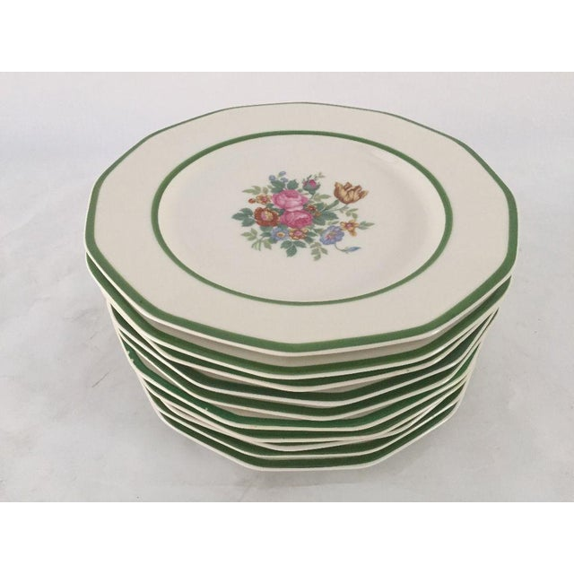 "Vintage , elegant floral china set of ten lunch plates , makers mark reads "" Black Knight China Made in USA"" They are in..."