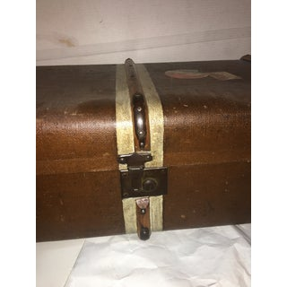 1940s Vintage Canvas Wood & Leather English Trunk Preview