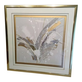 Mid-Century Modern Mixed Media Patrick McNurney Wall Art Framed and Triple Matted For Sale