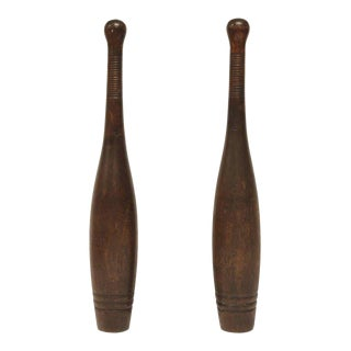 Antique Wooden Indian Clubs - A Pair For Sale
