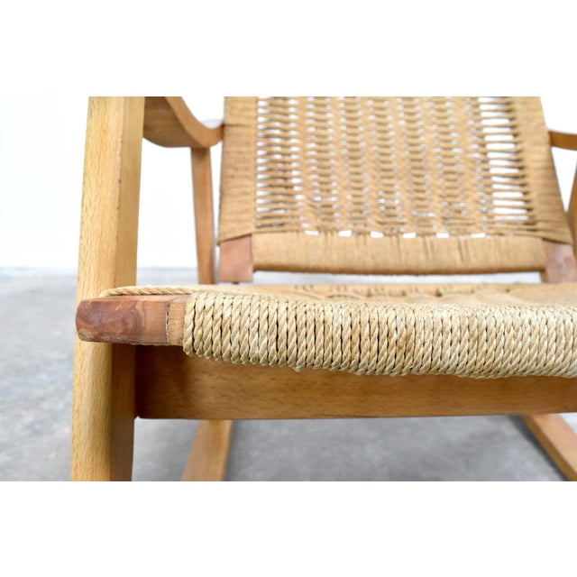Mid-Century Hans Wegner Style Rope Rocking Chair For Sale - Image 12 of 13