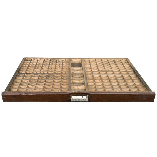 Vintage French Wood Printer's Type Tray - Image 1 of 5