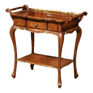 Italian Carved Walnut Tea Table With Centre Drawer and Removable Tray For Sale