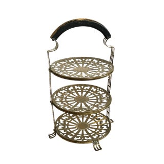 Antique Brass and Wood Tiered Tray by Manning, Bowman, & Co.