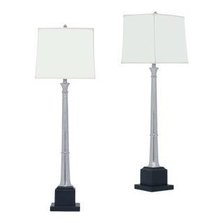 Port 68 Kensington Nickel Buffet Lamp - a Pair For Sale