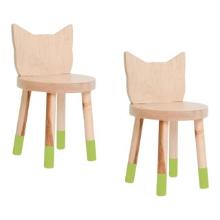 Nico & Yeye Kitty Kids Chair Solid Maple and Maple Veneers Green - Set of 2 For Sale