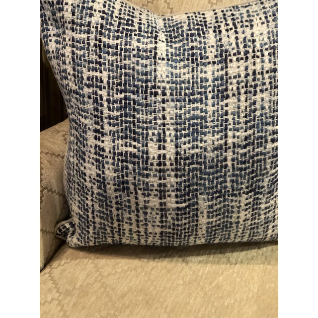 Contemporary Home Navy Blue Textured Square Pillow For Sale In Chicago - Image 6 of 7
