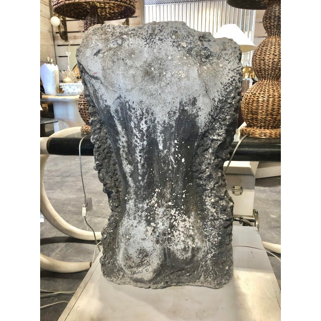 Modern Belgian Back Man Torso Cement Sculpture. It is signed.