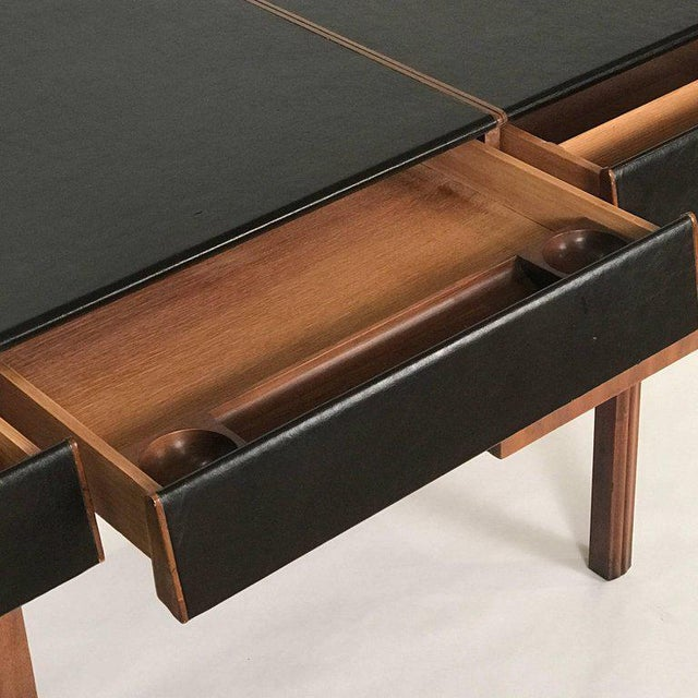 Animal Skin Bert England for John Widdicomb Leather Top Walnut Stilted Desk With Brass Pulls For Sale - Image 7 of 12