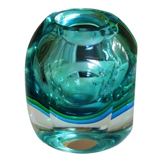 Flavio Poli Faceted Murano Sommerso Glass Vase For Sale