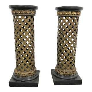 Neoclassical Style Lattice Column Form Pedestals- a Pair For Sale
