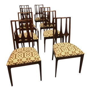 Vintage Walnut Dining Chairs Manufactured by Broyhill - Set of 8 For Sale