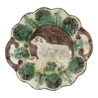 20th Century French Majolica Ceramic Dog Plate