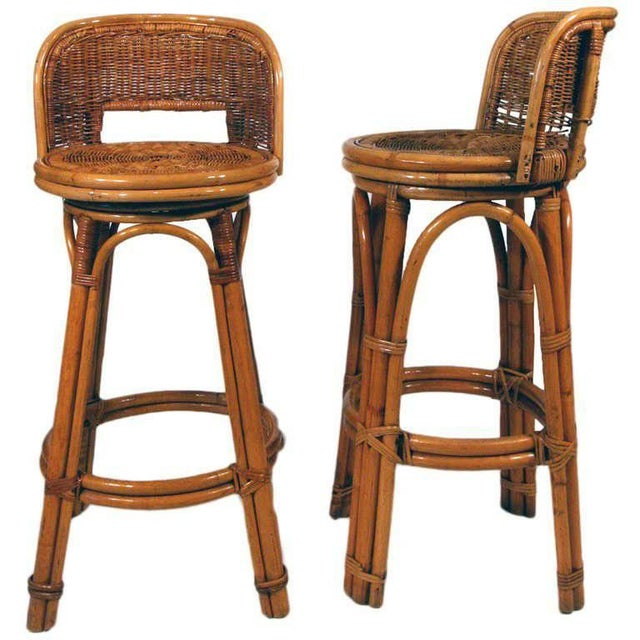 1950s Rattan Bar Stool Pair With Woven Wicker Seats, Set of Two For Sale - Image 5 of 5